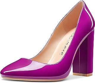 CASTAMERE Escarpins Femme Mode Bout Ronde Bloc Talons Hauts 10CM High Heels