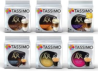 Tassimo L'OR Lovers Coffee Bundle - Tassimo L'OR Latte Macchiato/ Latte Macchiato Caramel/Double Shot Latte/Fortissimo/Café Long Classique/Café Long Intense - 6 Paquetes (72 Porciones)