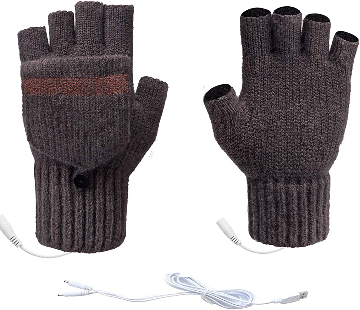 Unisex USB Heated Gloves Winter Warmer Gloves Mittens Removable Double-sided Heating Gloves