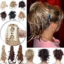 12 Inch Messy Bendable Clip on Synthetic Hair Ponytail Extensions with Braids Flexible Clip in Hairpieces with Jaw Claw Attachment Updo Style Layered Fluffy Pony Tail with Adjustable Wire 1# Black
