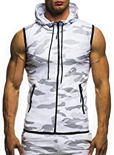 Sleeveless Camouflage Blouse for Men Fashion Men's Summer Casual Camouflage Print Hooded T-Shirt Top Vest Blouse