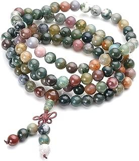 Jovivi 108 Mala Prayer Beads Necklace 8mm Natural Indian Agate Gemstone Healing Crystal Stone Strech Bracelets