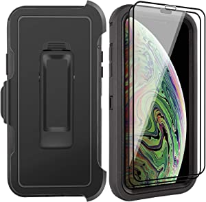 iPhone Xs Max Case with 2 Screen Protector Tempered Glass, Full Body Protection Cover, Heavy Duty Phone Case for Apple iPhone Xs Max 6.5 inch Shockproof Rugged Military Grade (Belt Clip,Black)