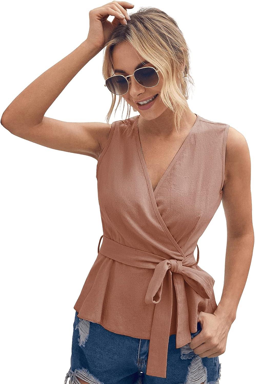 SweatyRocks Women's Sleeveless Tank Top Wrap V Neck Belted Blouse Shirt