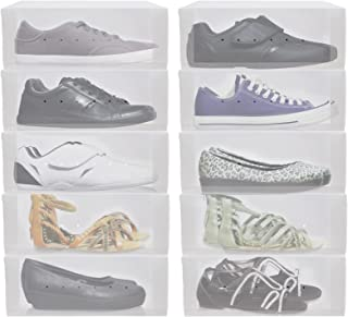 Greenco Clear Foldable Shoe Storage Boxes-10 Pack-