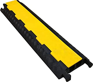 Electriduct Cable Protector 2 Channels 1.6 x 1.25 Traffic Hose and Wire Cover Rubber Black Base with Yellow Lid (3 Feet) 5,000 lbs/axle
