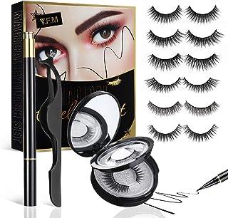 Y.F.M 6 Pairs Reusable Eyeliner and Eyelashes Kit, Upgraded 3D Non Magnetic Eyelashes Kit, Waterproof Eyeliner, Multi Styles False Eyelashes Easy to Wear No Glue Needed