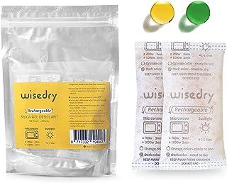 wisedry 50 Gramos[4 Paquetes] Gel De Sílice bolsitas Desecante Reutilizable con Microondas Reactivado rápido En 2mins & Naranja a Verde Que Indicador de Absorción de Humedad Deshumidificador de Grado