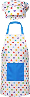 RISEBRITE Kids Apron and Chef Hat Set for Girls and Boys for Cooking, Baking, Gardening, Painting and More - Blue Polka Dots
