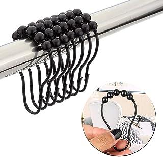 JLySHOP Lot de 12 crochets de rideau de douche en acier inoxydable résistant à la rouille avec boules en métal poli pour s...