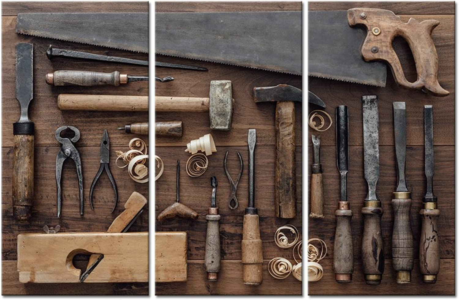 LevvArts - 3 Piece Wall Art Carpentry Tools Collection Vintage Picture Print on Canvas Cowboy Craftsmanship Poster Print Western Wall Decor