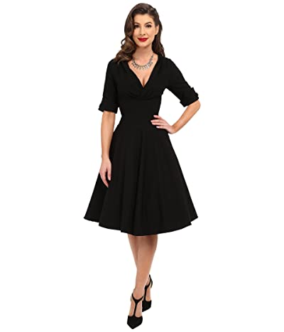 Unique Vintage 3/4 Sleeve Delores Swing Dress (Black) Women