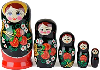Heka Naturals Russian Nesting Dolls, 5 Traditional Matryoshka Hohloma Style | Babushka Wooden Dolls, Black, Golden Leave and Red Berries Design, Hand Made in Russia | Hohloma, 5 Piece, 4.7 inches
