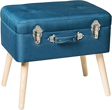 Edencomer Storage Bench with Wood Legs, Fabric Ottoman Foot Rest for Bedroom, Blue