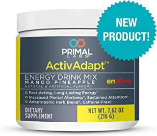 Primal Labs ActivAdapt, Tropical Energy Drink Mix, Long Lasting, Slow Release, Caffeine and Sugar-Free, Increases Focus and Boosts Energy. Free Energy Restoration Plan E-Book with Every Purchase