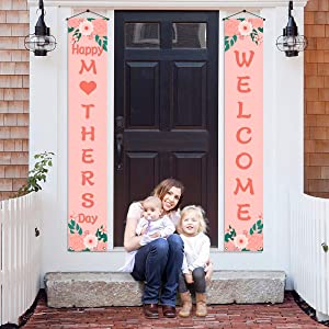 Happy Mother's Day Banner,Mothers Day Welcome Porch Sign,Mothers Day Decor Outdoor Indoor,Mothers Day Decoration and Supplies for Party