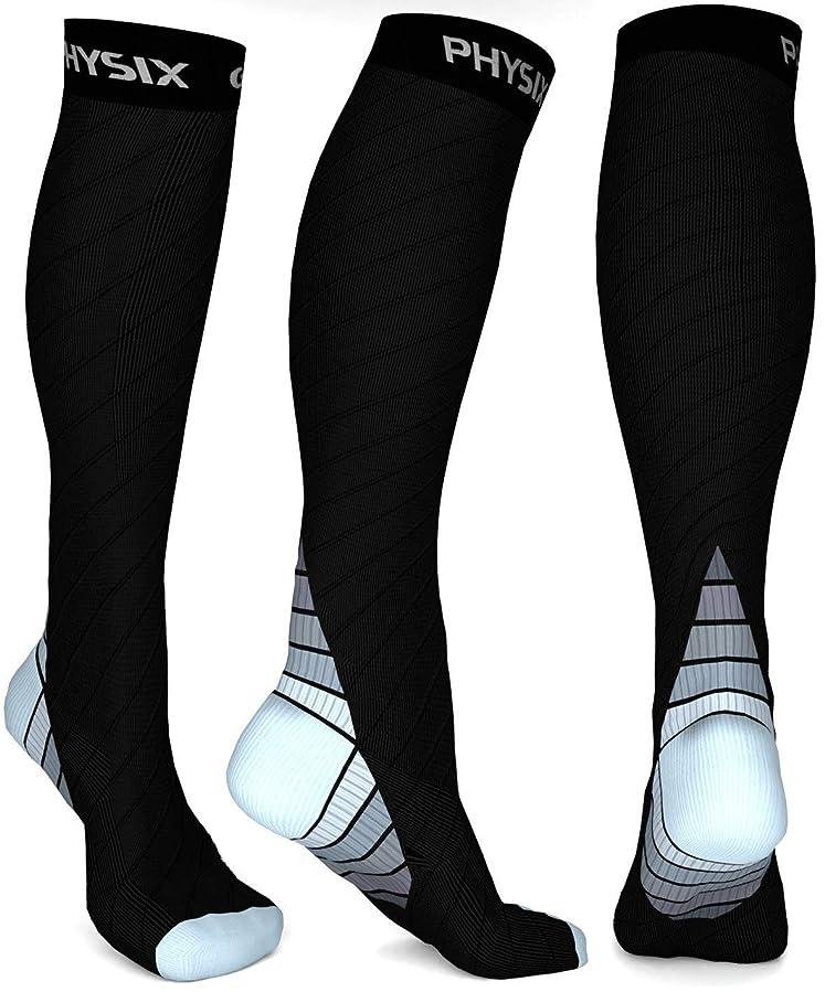 詳細に汚染する音楽Physix Gearコンプレッションソックス男性用/女性用(20?30 mmHg)最高の段階的なフィット ランニング、看護、過労性脛部痛、フライトトラベル&マタニティ妊娠 – スタミナ、循環&回復 (BLACK & GREY L-XL)