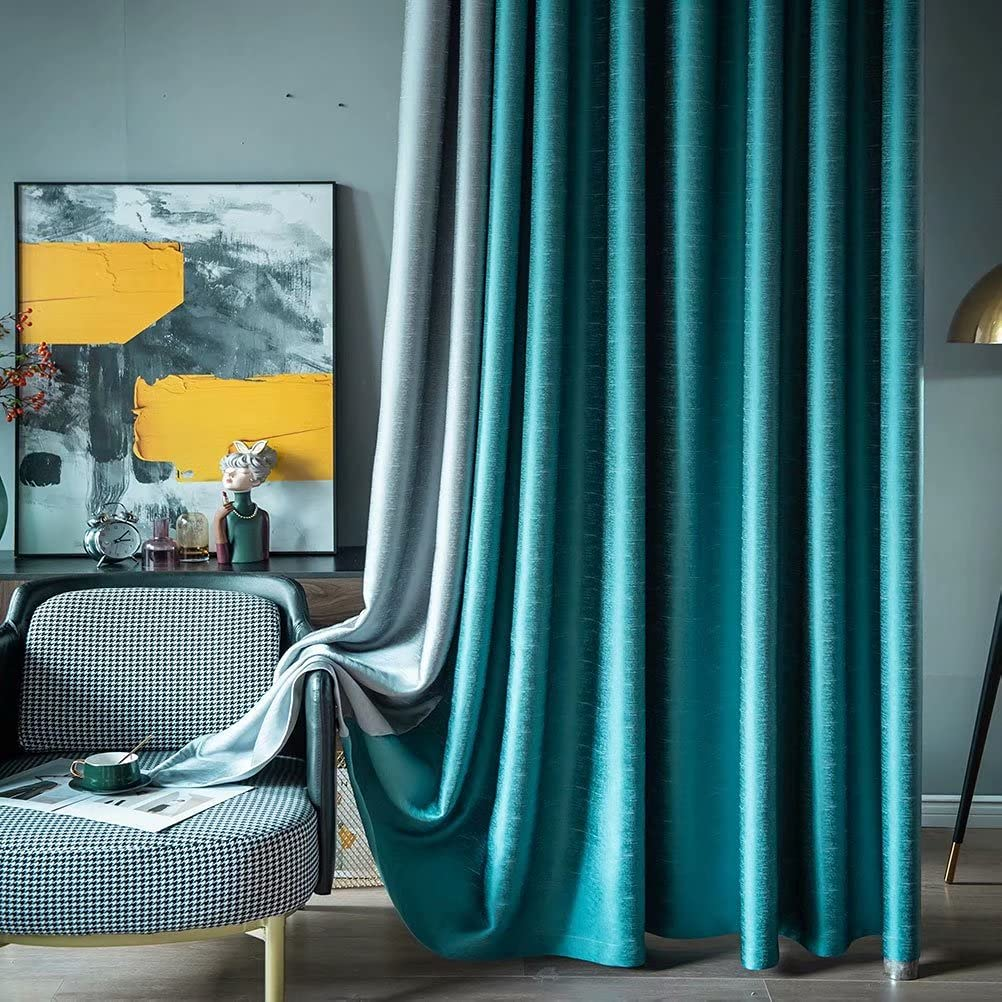 SULIEBE Blue Textured Color Block Kansas City Mall Energy Grommet Drapes Gifts Top Effi