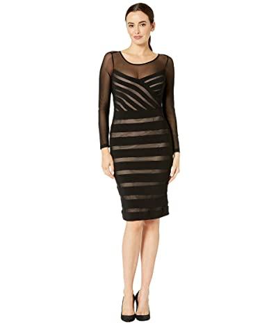 Adrianna Papell Illusion Neck Banded Sheath Dress (Black/Pale Pink) Women
