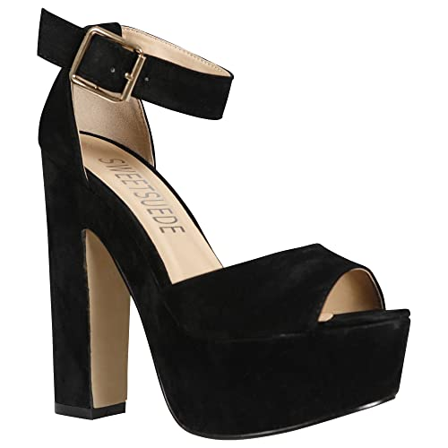 8bed9610f498 NEW WOMENS LADIES ANKLE STRAP PLATFORM CHUNKY HIGH HEEL SANDALS SHOES SIZE  3-8