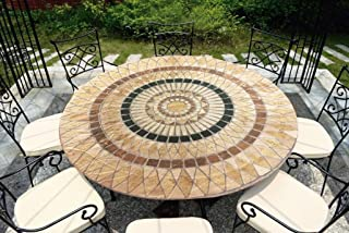 CT DISCOUNT STORE CTD Store Deluxe Fitted Elasticized Table cover Fit up to44-48 Inches Diameter (Tuscan Mosaic)