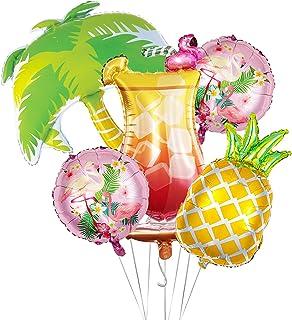 5Pcs Summer Tropical Party Balloons Kit, tail Balloon Flamingo Palm Tree Mylar Balloons Pineapple Balloons for Summer Hawa...