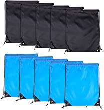 10PCS Drawstring Backpack Bags-Cinch Sack Waterproof Kids Sport Storage Polyester Bag for Gym (Black& Blue) 2Colors