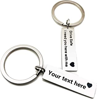 Personalized Free Engraving Custom Stainless Steel Keychain Boyfriend Gift