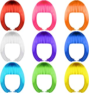 jiebor 9pcs Colorful Party Wigs Short Bob Hair Wigs Neon Color Costume Cosplay Wigs for Women