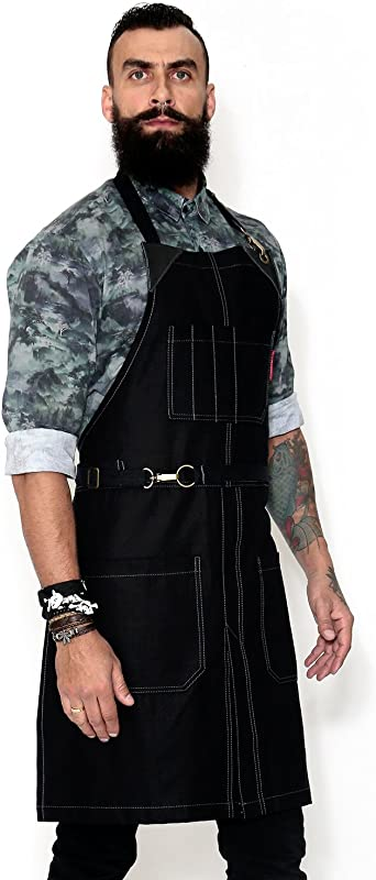 Under NY Sky No Tie Opaque Black Apron Durable Twill Leather Reinforcement And Split Leg Adjustable For Men And Women Pro Barber Tattoo Barista Bartender Baker Hair Stylist Server Apron