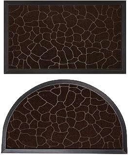 Gorilla Grip Natural Rubber Doormats, 47x35 Rectangle and 35x23 Half Circle Heavy Duty Indoor Outdoor Low-Profile Mats in ...