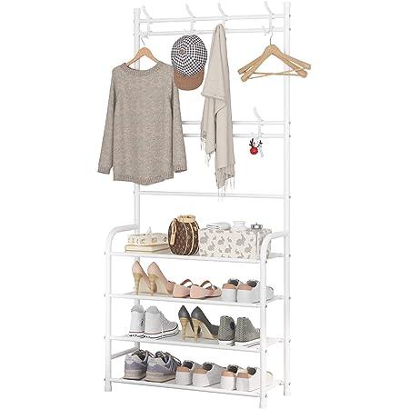 UDEAR Porte-Manteau d'entrée, étagère de Rangement pour Arbre de Hall, Assemblage Facile, avec étagère à 4 Niveaux pour Chaussures de Rangement, vêtements, Blanc
