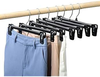 abrigo y m/ás Perchas para pantalones pantalones pantalones 20 piezas Perchas con clips perchas de metal perchas antideslizantes para faldas pantalones vaqueros