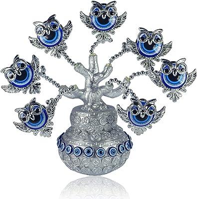 Reiki Crystal Products Porcelain Elephant Evil Eye Tree, Standard, Golden & Brown