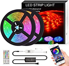 Bluetooth LED Strip Lights Music Sync, 32.8FT/10M Waterproof RGB LED Light Strips for Bedroom 5050 300LEDs Color Changing ...