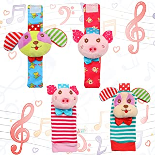 Acekid Baby Foot Rattle4pcs Wrist Rattle and Socks Toys Set Toddler Soft Animal Toys Pig and Dog
