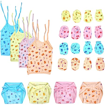 BIGBOUGHT® New Born Baby Care Cloth Set Combo (Set of 12, Jhabla, Nappy, Mittens, Hosiery Material, Random Print (Multicolor)