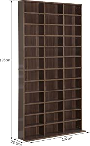 homcom Libreria Modulare Mobile Porta CD Classica 36 Scompartimenti Regolabili Legno 195 × 102 × 23.5cm