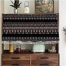 Gordijnen voor slaapkamer keukengordijn, gordijnen voor slaapkamer geometrisch patroon, kort gordijn met kwastjes, voor ke...