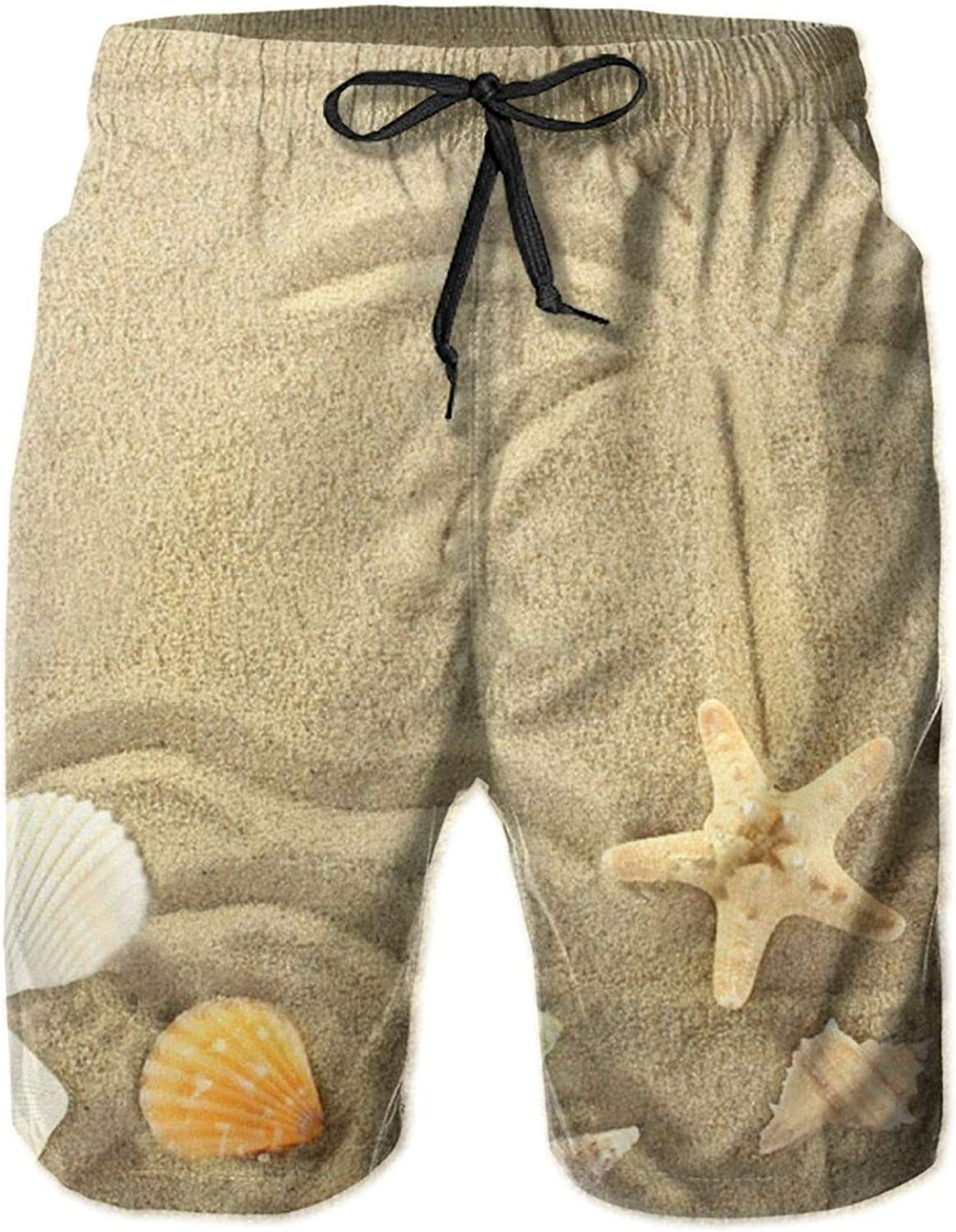 Yt92Pl@00 Mens 100% Large-scale sale Polyester Starfish and Trees at B Palm Latest item Beach