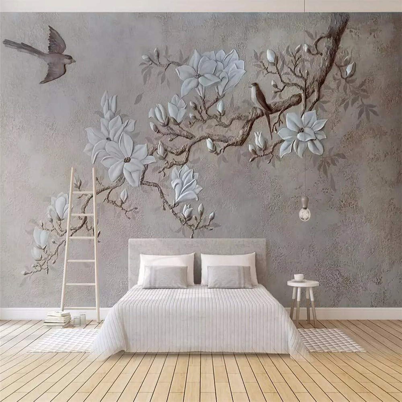 Fototapete 3D Effekt Geprgte Zweig-Magnolien-ElsterTapete Vliestapete Wandbilder Wanddeko