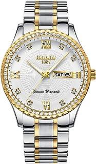 Mens Quartz Watches Waterproof Business Analog Wrist Watch for Men Women Stainless Steel Dress Clock Luxury Diamond Wristwatch, Luminous Dial, Calendar