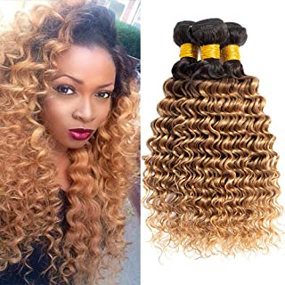 2 Tone Ombre Curly Hair Bundles Deep Wave Brazilian Virgin Hair T1B/27# Unprocessed Curly Hair Extensions Ombre Human Hair Bundles Double Weft Honey Blonde Ombre Brazilian Hair 16 18 20inches