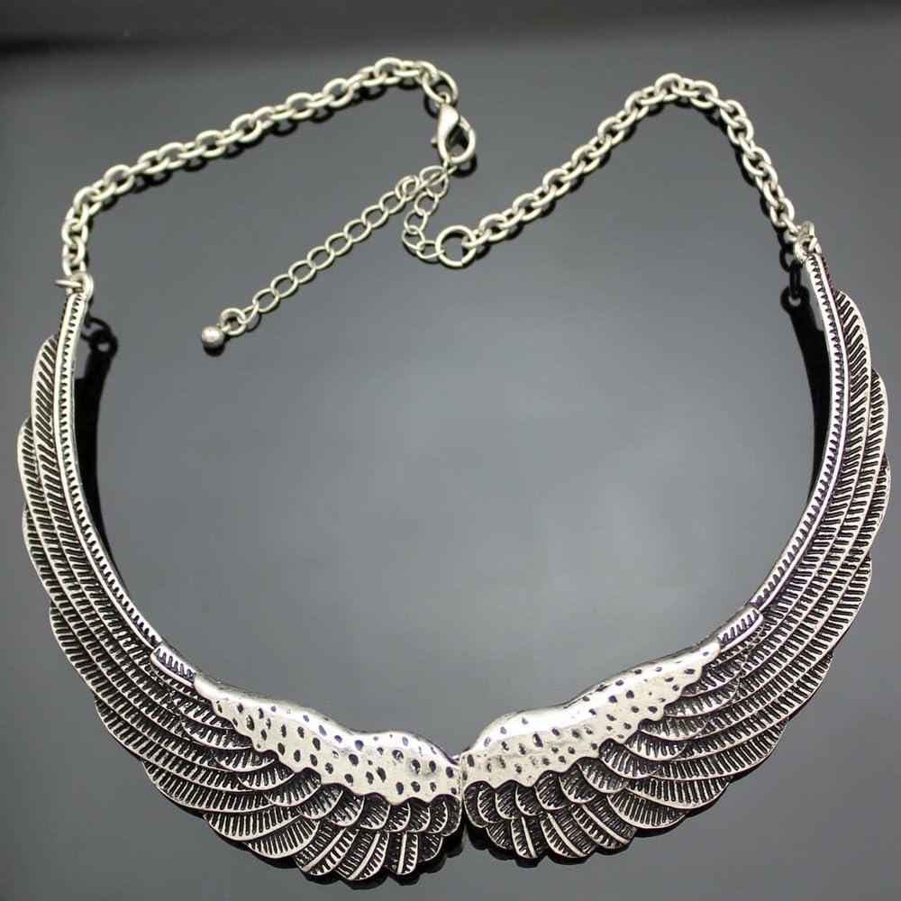 Naswi Chic Big Guardian Angel Wing Feather Love Chain Collar Choker Bib Necklace Gift Jewelry