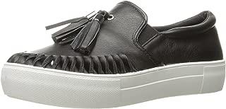 JSlides Women's Aztec2 Fashion Sneaker, Black Leather, 6 M US