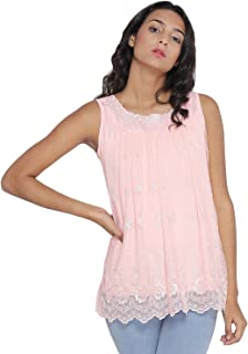 d50bc32efc83b2 Camey Women's Girl's Round Neck Summer Top Sleeveless Neck Lace Design Top  ...