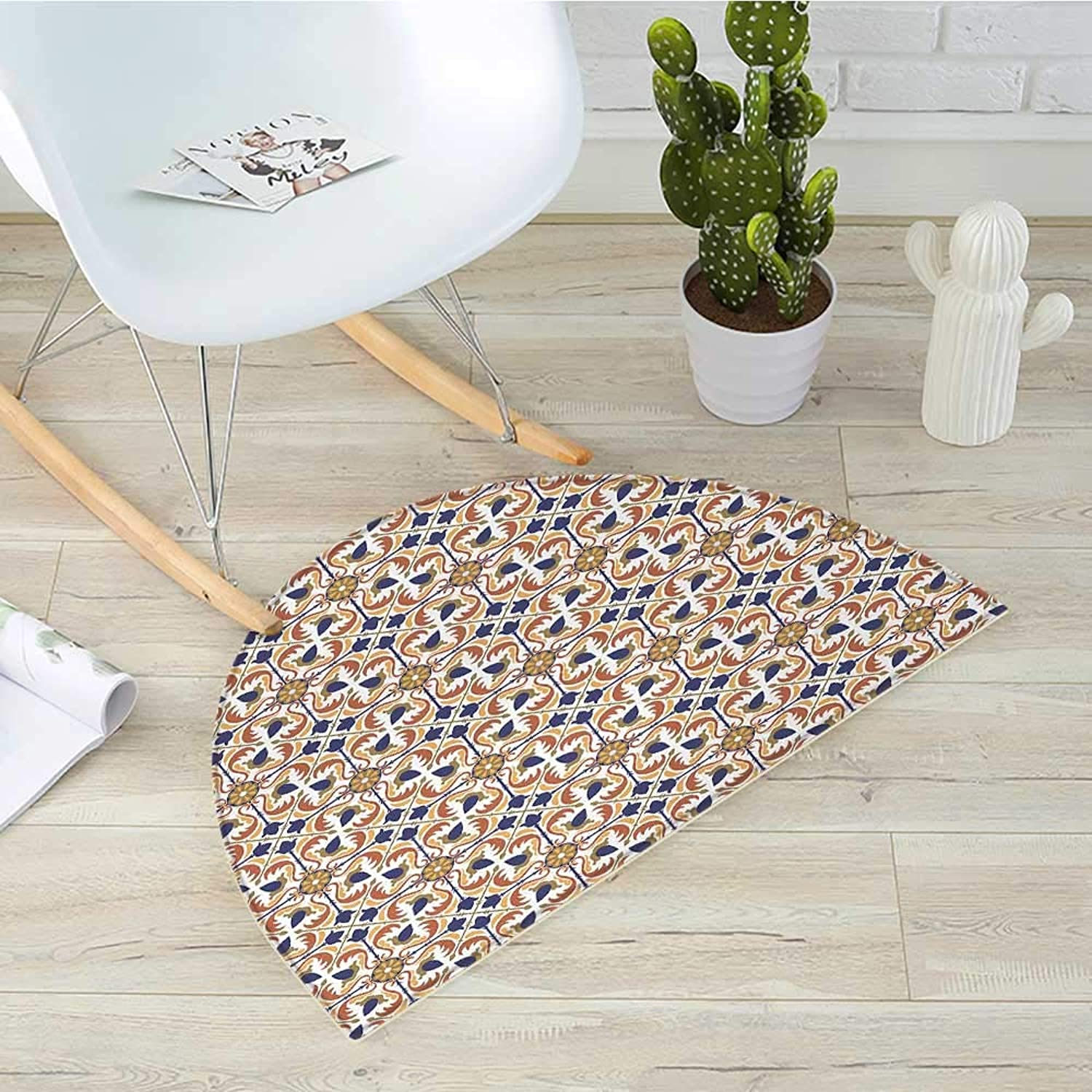 Mgoldccan Semicircular CushionTraditional Mosaic Tile Motif with Old Fashioned Floral Arabesque Scroll Design Entry Door Mat H 39.3  xD 59  Multicolor