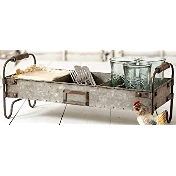 Industrial Centerpiece for Coffee or Dining Table Document Organizer for Office or Kitchen CKK Home Décor SB-5917S2 Rustic Serving Trays for Parties Stonebriar 2pc Rectangle Galvanized Metal Serving Basket Set