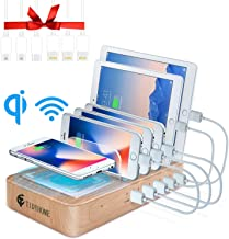 Fast Charging Station for Multiple Devices - Family Charge Docking Station&Organizer - 5 USB Port and 1 Qi Wireless Charging Pad - Compatible with iPhone iPad and Android Phone and Tablet