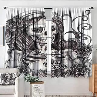 Elliot Dorothy Rod Pocket Curtains Skull,Sexy Skull Girl with Floral Veil Ceremony Day of The Dead Bride Skeleton Lady Art,Grey White,Insulating Room Darkening Blackout Drapes for Bedroom 55